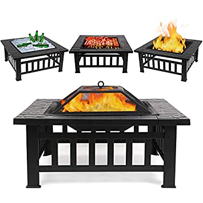 """FIXKIT Fire Pit Table Outdoor with BBQ Grill Shelf, Multifunctional Garden Terrace Fire Bowl Heater/BBQ/Ice Pit, 32"""" Diameter Square Fireplace with Waterproof Cover"""