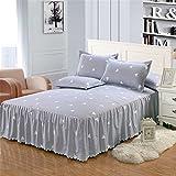Sundlight Valance Bed Sheet Flower Printing Series Bed Skirt Non-slip Bed Sheet for 150*200cm Bed