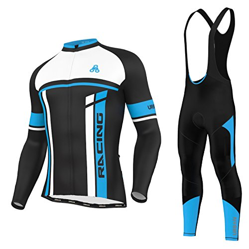 Men's Urban Cycling Team Thermal Winter Jersey, Bib Tights, and Winter Cycling Set Kit, Long Sleeve (Large, Thermal Jersey/Tights Set)