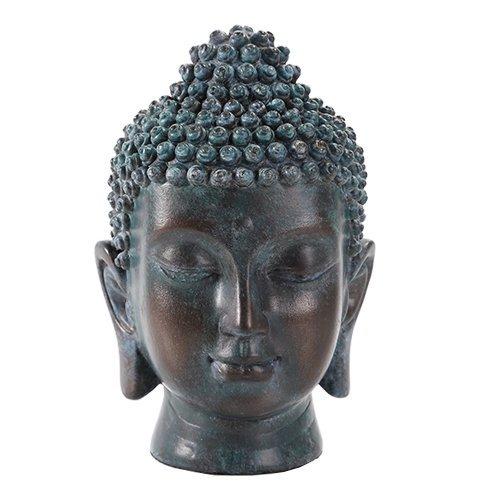 6.5 Inch Buddha Head Buddhist Religious Bronze Finish Statue Figurine (Tarnished Bronze)