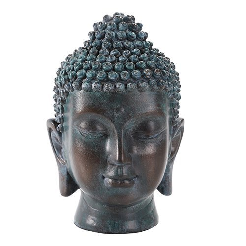 6.5 Inch Buddha Head Buddhist Religious Bronze Finish Statue Figurine (Tarnished Bronze)