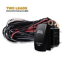 LED Light Bar Wiring Harness Kit 300W 12V 40Amp Relay ON-OFF-Rocker Switch(2 Lead) for Driving light Fog light Work light