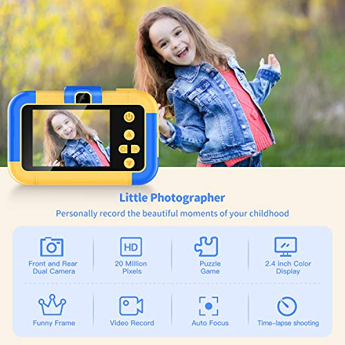 Uverbon Kids Digital Camera 1080P FHD Video 24MP Rechargable Toy Cameras Children Camcorder for Girls Boys 3-8 Years Old Birthday Christmas New Year Gift