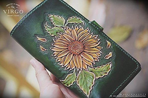 Sunflower hand tooled/ hand carved wallet for women