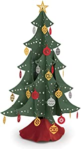 Lovepop Festive Tabletop Christmas Tree, Laser Cut Holiday Decor, Foldable, Storable, with Ornaments