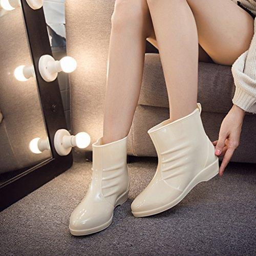 Rain Impermeabile Caviglia Donna Boot Pioggia Scarpe per Stivali Xinwcang Antiscivolo Beige Corti FpwSnq