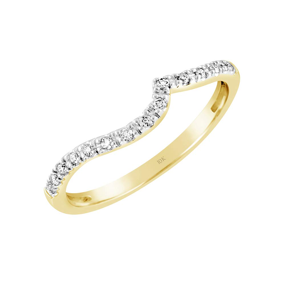 Brilliant Expressions 10K Yellow and White Gold 0.08 Cttw Conflict Free Diamond Wave Wedding or Anniversary Ring Enhancer (I-J Color, I2-I3 Clarity), Size 8 by Brilliant Expressions