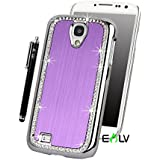 Galaxy S4 Case, E LV Galaxy S4 Case Luxury Bling Diamond Rhinestone Metallic Chrome Hard Case Cover for Samsung Galaxy S4 S IV i9500 with 1 Screen Protector, 1 Black Stylus, 1 Case Opening Tool and Microfiber Digital Cleaner - Purple