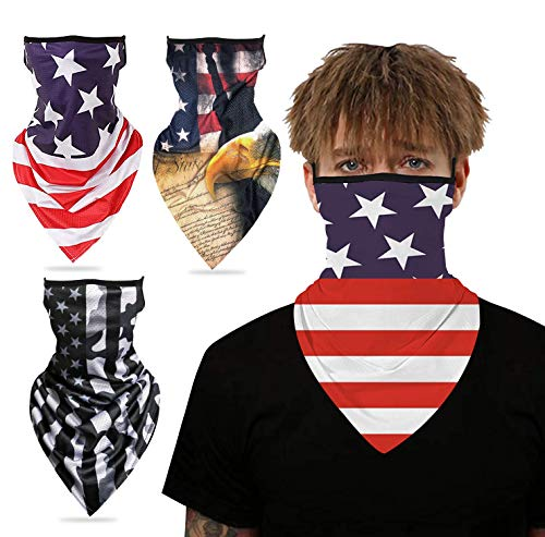 3 Pack Elastic Face Mask Bandana Ear Loops, Face Cover Neck Gaiter Scarf, Unisex Balaclava Face Mask(US Flag)