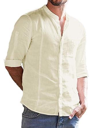 08f4a384757 EastLife Mens Cotton Linen Shirts Botton Up Summer Casual 3 4 Sleeve Tops  (Medium