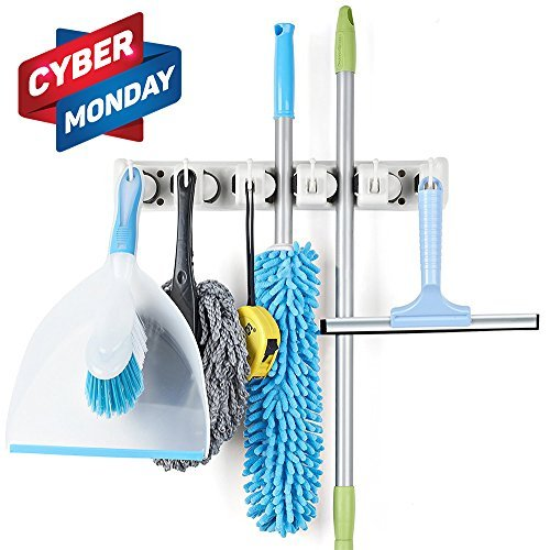 Titan Mall Broom and Mop Holder Wall Mount Garage Storage Organizer with 5 Slots and 6 Hooks Spatula Rack for Kitchen pack of 1 by Titan Mall
