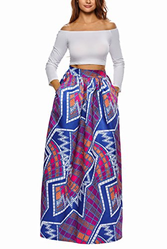 Afibi Women African Printed Casual Maxi Skirt Flared - Woman Skirts Casual