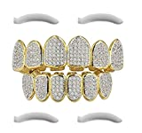 24K Gold Plated Iced Out Grillz With Micropave CZ Diamonds + 2 EXTRA Molding Bars