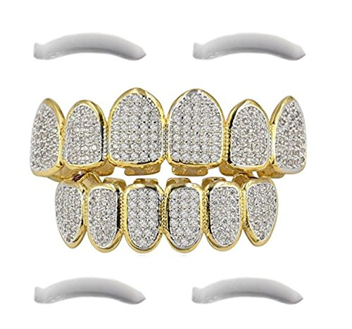 24K Gold Plated Hip Hop Grillz Top And Bottom Grills For Mouth Teeth 2 EXTRA Molding Bars - Every Style (24K Gold Plated Iced Out Grillz With Micropave CZ Diamonds + 2 EXTRA Molding Bars)