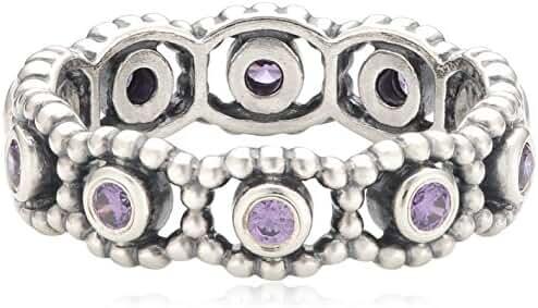 PANDORA Her Majesty Purple CZ Romance Ring Size 7 - 190881ACZ-54