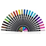 Dual Tip Art Marker Pens Fine Point Bullet Journal Pens & Colored Brush Markers for Kid Adult Coloring Books Drawing Planner Calendar Art Projects (24 Pens Set)