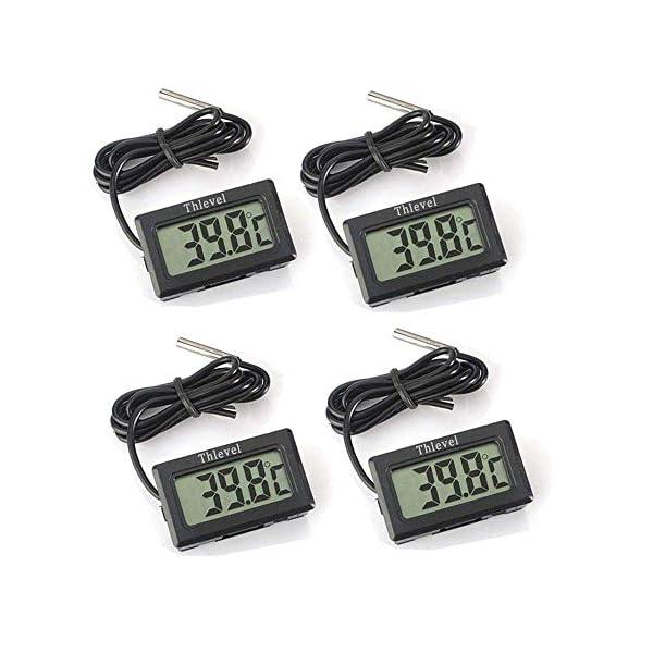 Thlevel 4PCS LCD Digitale Termometro con Sonda Esterna Impermeabile per Frigorifero, Congelatore, Acquario (4X Nero) 1