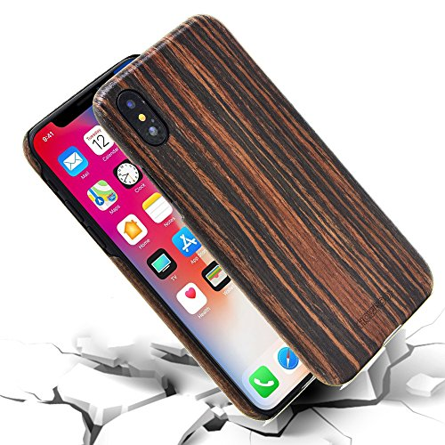iPhone X Case, SHOWKOO Real Wood and Carbon Fiber 1mm Ultra Slim Protective Phone Cover - Ebony