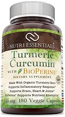 Nutri Essentials Organic Turmeric Curcumin with Bioperine 755 Mg 180 Organic Veggie Capsules – Supports Inflammatory Response – Supports Brain, Heart Joints