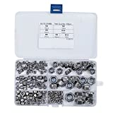 HIFROM 165pcs Nylon Lock Nut M3 M4 M5 M6 M8 M10 M12 Stainless Steel 304 Self-Locking Nut Set