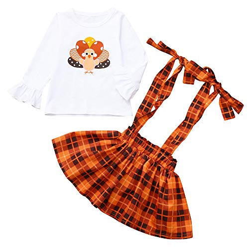 Baby Girls Sets,WillsaToddler Baby Thanksgiving Day Turkey Print Tops+Overalls Plaid Skirt Outfits Set ()