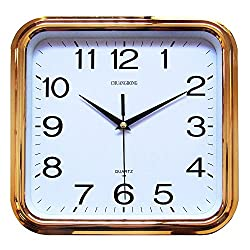 Chuang Rong Large Wall Clock 11.5 Inch classic Large Square Elegant Wall Clock Quality Quartz Battery Operated Home Clock (gold)