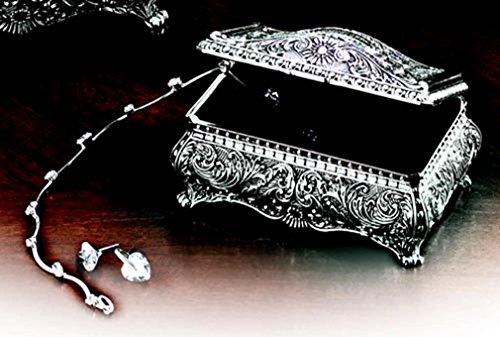 Ornate Antique Finish Rectangular Trinket Jewelry Box - 3.5