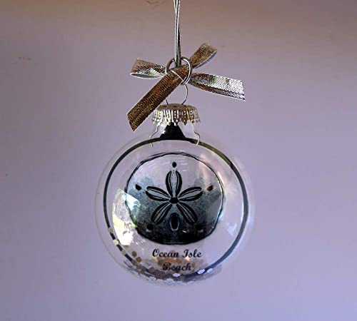 Sand Dollar Silhouette Christmas Ornament Clear Glass Globe Silver White Bow Handmade
