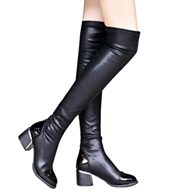 8034623fdb4 Amazon.com  Women s Fashion Comfy Vegan Patent Leather Block Heel Elastic  Stretch Thigh High Over The Knee Boots by Lowprofile  Clothing