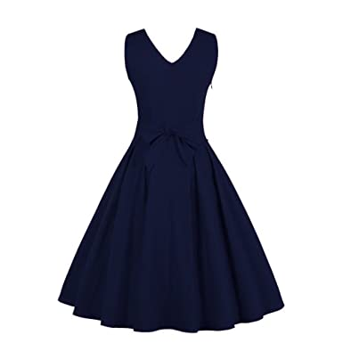 Women Dress Godathe Women Deep V Neck Vintage Gown Sleeveless Party Prom Swing Dress M-