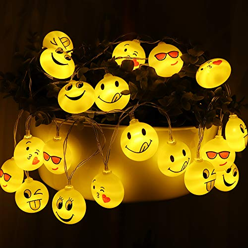 Supergift Emoji LED String Lights, 20 LED Cute Outdoor String Lights Battery Operated Waterproof Light for Indoor Living Room Bedroom Wall Decor Wedding Festival Birthday Party Decorations 10.5 FT]()
