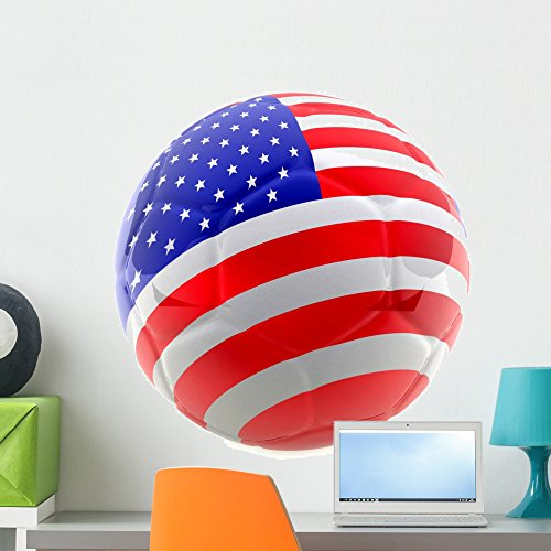 3D Usa Soccer Ball Wall Decal by Wallmonkeys Peel and Stick Graphic (24 in H x 24 in W) WM256649 Team 3d Cup