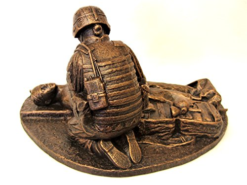Small Female Combat Medic Statue Coin Holder, 12 x 9 x 8 inches