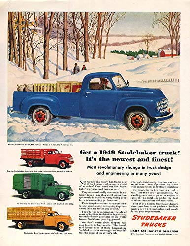 It's the newest & finest Studebaker Pickup Stakebody Milk Truck ad 1949 Col
