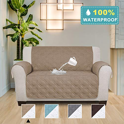 - 100% Waterproof Slip Resistant Sofa Slipcover Protector Couch Cover Perfect for Leather Sofa, Furniture Protector Stay in Place (Seat Width: 54