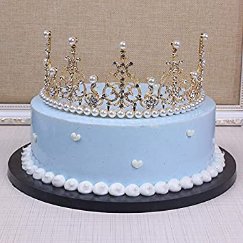 Tiara Crown Cake Topper Pearls For 6 Decoration Vintage