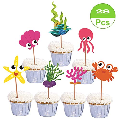 SAKOLLA Ocean Sea Creature Cupcake Toppers - Under the Sea Theme Cupcake Picks for Kids Birthday Party, Baby Shower - Set of 28]()