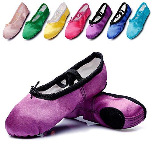 Kid Girl's Satin Practise Ballet Slipper Yoga Shoe,Purple,Toddler,9.5 M US