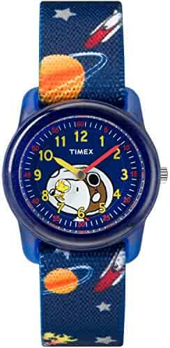 Timex Boys TW2R41800 Time Machines Peanuts Snoopy & Outer Space Elastic Fabric Strap Watch