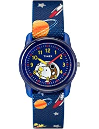 Boys TW2R41800 Time Machines Peanuts Snoopy & Outer Space Elastic Fabric Strap Watch