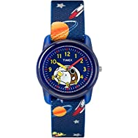 Boys TW2R41800 Time Machines Analog x Peanuts: Blue Woodstock & Snoopy/Outer Space Elastic Fabric Strap Watch