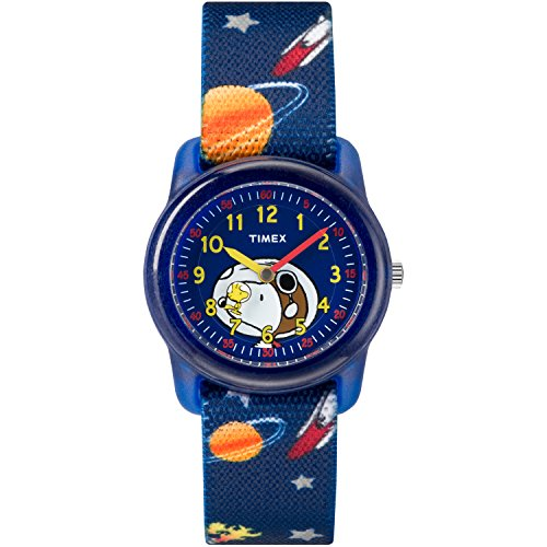 Timex Boys TW2R41800 Time Machines Peanuts Snoopy & Outer Space Elastic Fabric Strap Watch (Kids Timex Watches Boys)