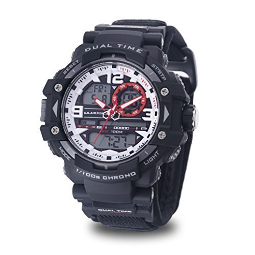 (Men's U.S. Air Force C41 Multifunction Watch by Wrist Armor, White and Red Dial, Velcro Strap)