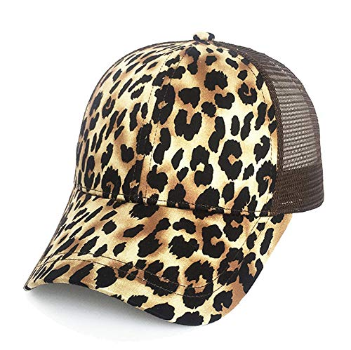 - Kokkn Ponytail Baseball Cap Hat Ponycaps Messy Ponytail Adjustable Outdoor Mesh Cap Trucker Dad Hat for Women Men (Leopard)