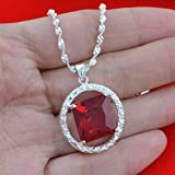 Jewelry Fashion 925 silver ruby zircon Pendant gift for women N-208