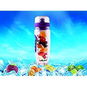 Fruit Infuser Water Bottle 32oz Willceal- Durable, Large - BPA Free Tritan, Flip Lid, Leak Proof Design - Sports, Camping (Purple)