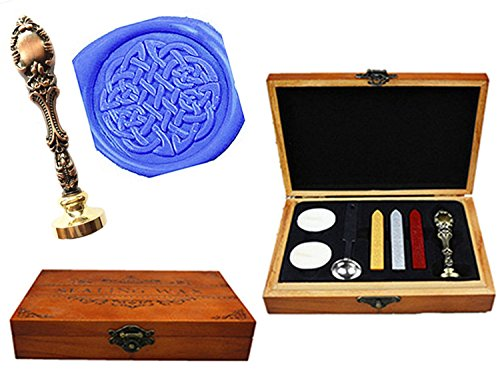 MNYR Vintage Celtic Knot Luxury Wood Box Gold Metal Peacock Wedding Invitations Gift Cards Paper Stationary Envelope Seals Custom Logo Wax Seal Sealing Stamp Wax Sticks Melting Spoon Wood Gift - Celtic Metal Knot