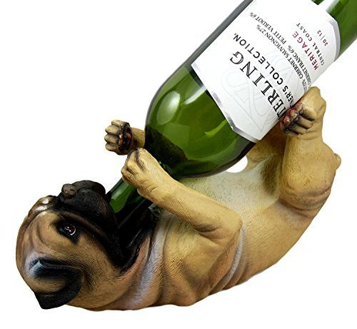 Atlantic Collectibles Adorable Canine Pug Dog 10.75'' Tall Wine Bottle Holder Caddy Figurine by Ebros Gift