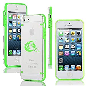 Apple iPhone 5c Ultra Thin Transparent Clear Hard TPU Case Cover Stand Up Paddle Board Surf (Green)