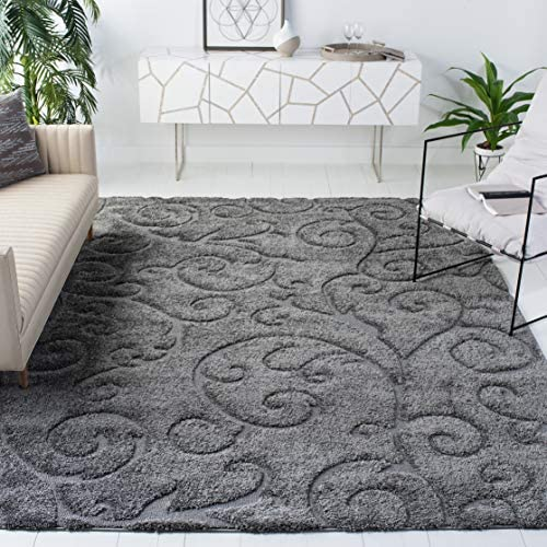 Safavieh Florida Shag Collection SG455-8013 Scrolling Vine Graceful Swirl Textured 1.18-inch Thick Area Rug